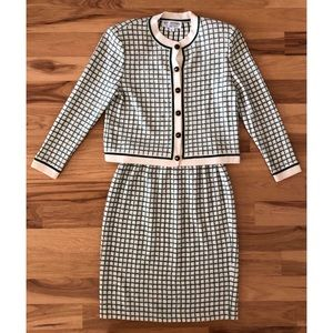 St. John knit checkered skirt suit